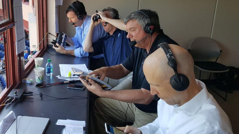 Our 4-man Spring Training webcast team in Clearwater with John Wehner, Greg Brown, Bob Walk and I