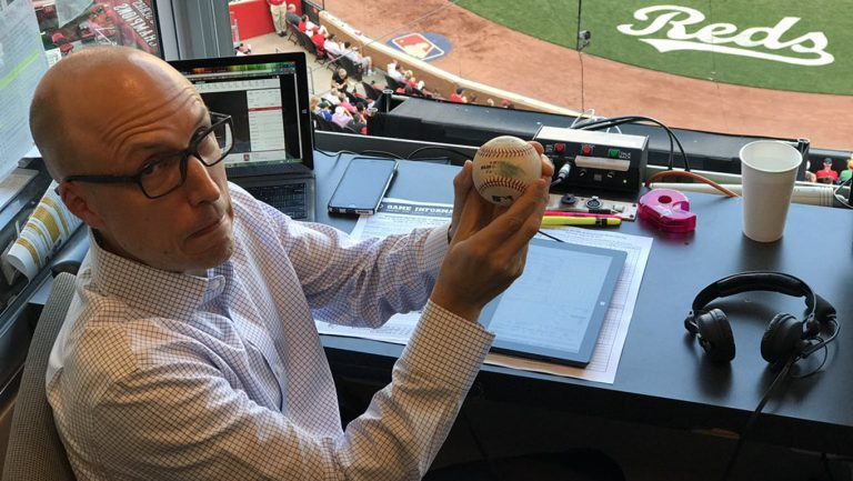 The foul ball caught me in the Cincinnati booth