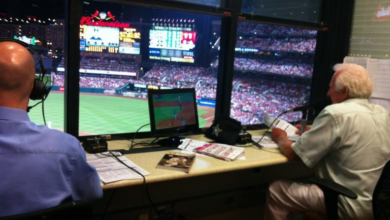 I worked in the Brewers' radio booth with Bob Uecker for four years. We're in the St. Louis booth.